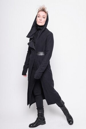 Cardi Complex gaze fleece plain black cotton