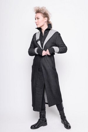 Cardigan Complex black grey gaze fleece cotton