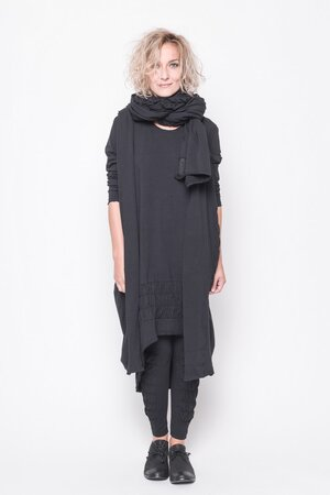 Cardigan Zen black cotton elastic