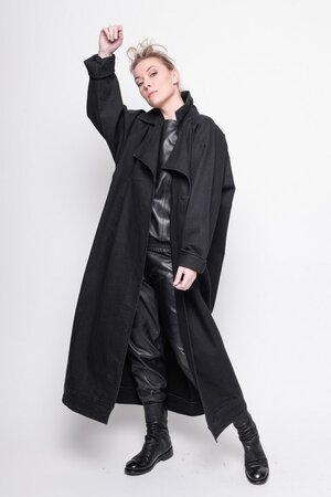 Long Jacket Realistic jeans plain black cotton