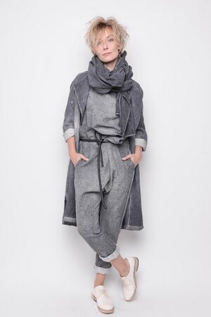 Scarf Grace linnen grey handpaint