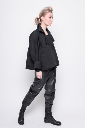 Short Jacket Refind jeans plain black cotton