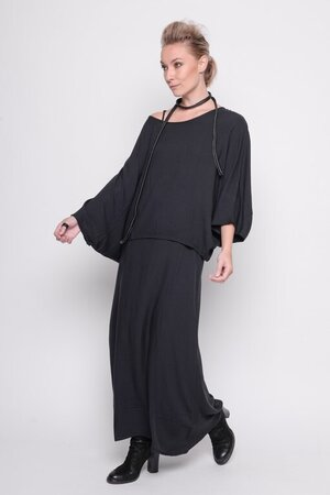 Top Heart Beat viscose tissue plain black