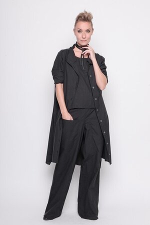 Top same again woven cotton black