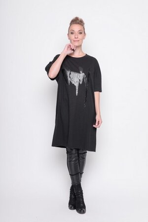 big shirt print graffiti black cotton