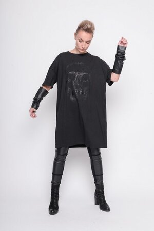 big shirt print skully black cotton