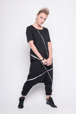 pant crazy rumor black vapor stripe cotton