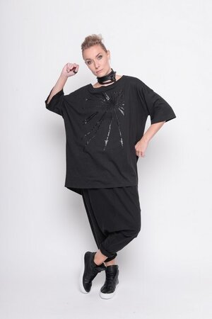 shirt releasing print barbwire black cotton