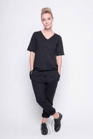 top true danger fleece rib cotton black