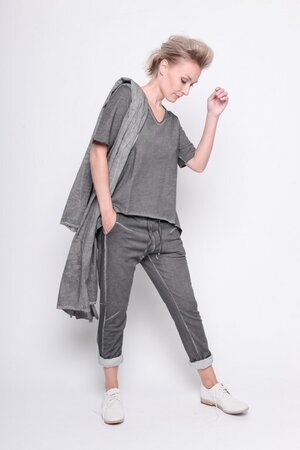 top true danger fleece rib cotton grey